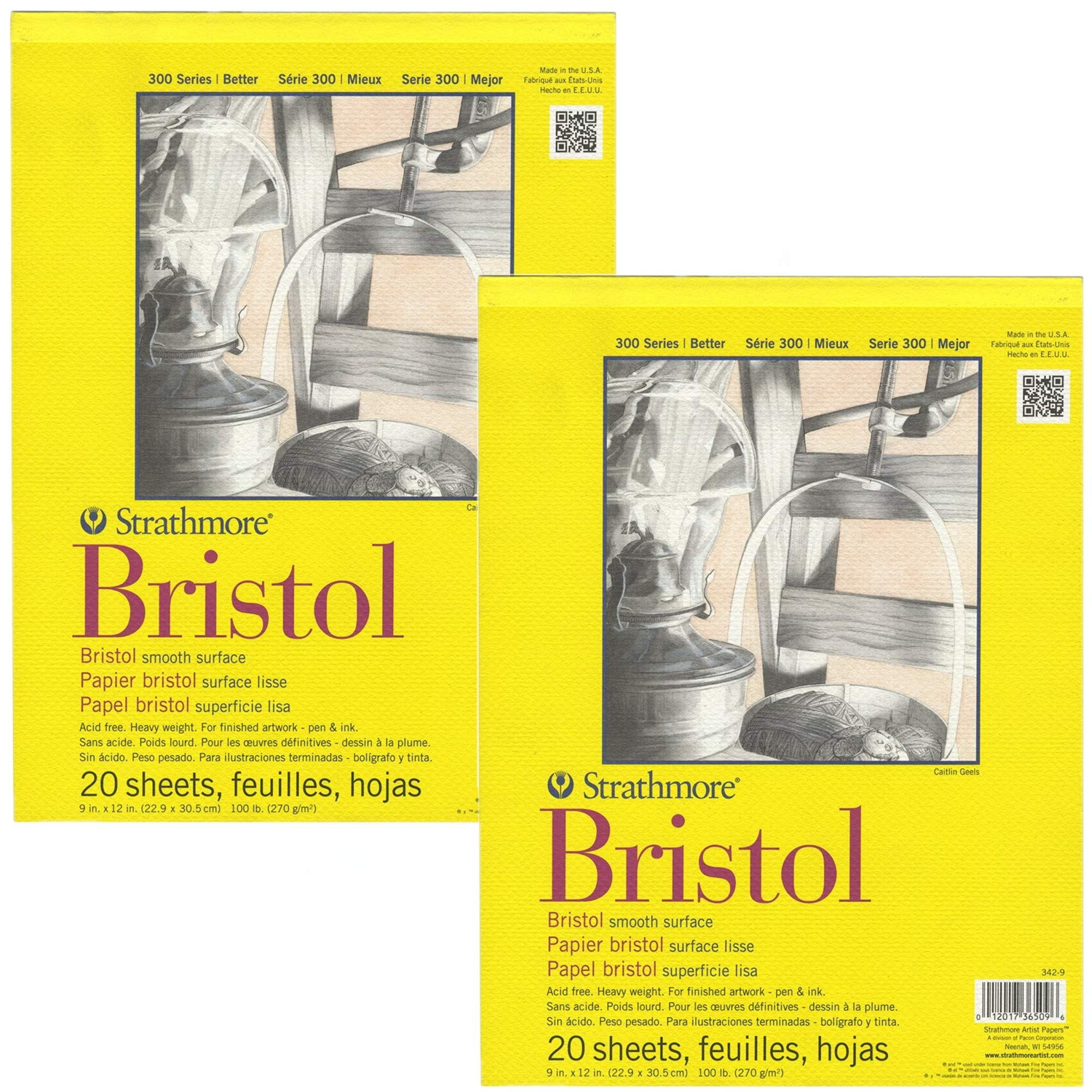 Strathmore 300 Series Bristol Smooth Pad, 9''x12'' Tape Bound, 20 Sheets (Pack of 2) by Strathmore