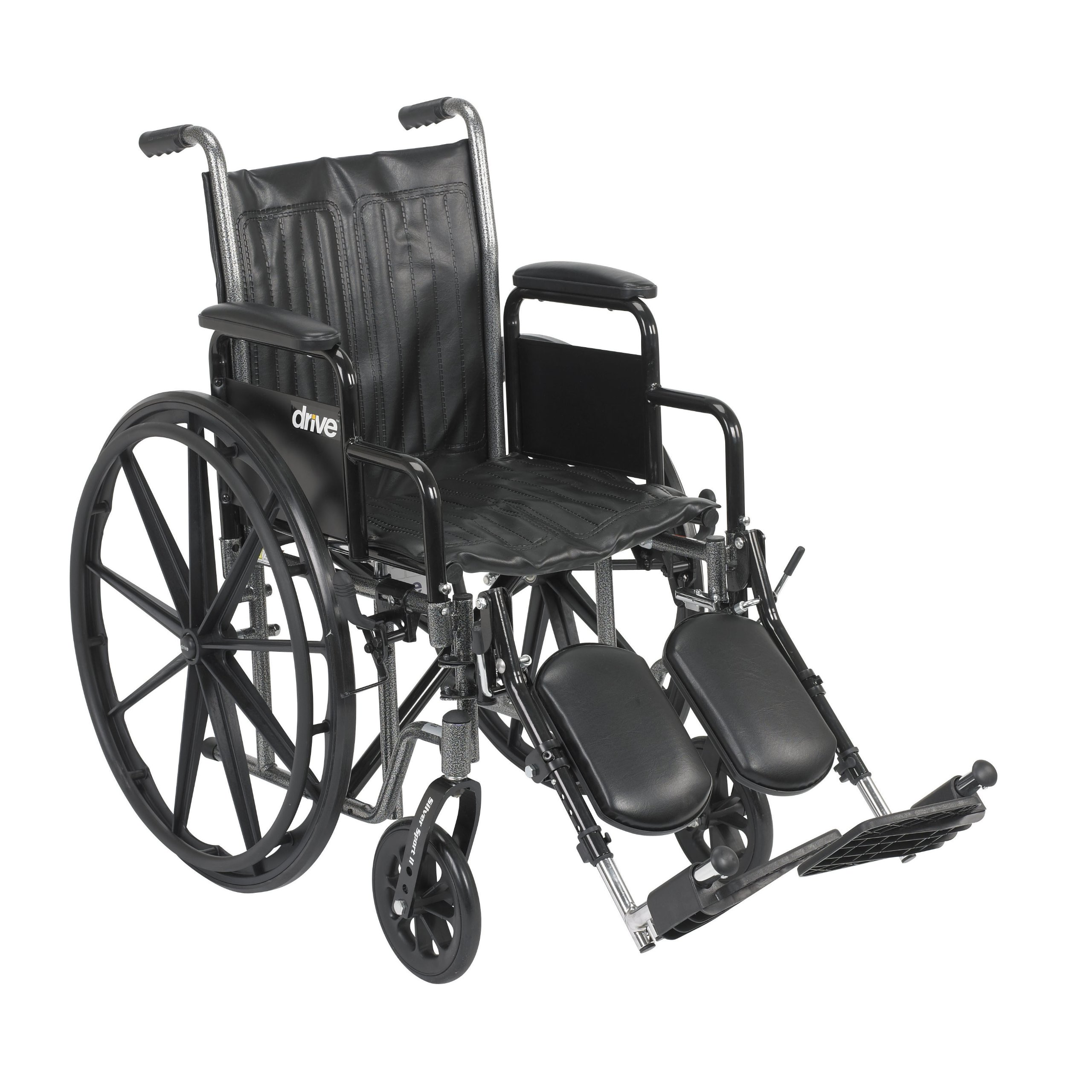 Drive Medical Silver Sport 2 Wheelchair with Various Arms Styles and Front Rigging Options, Black, 18''