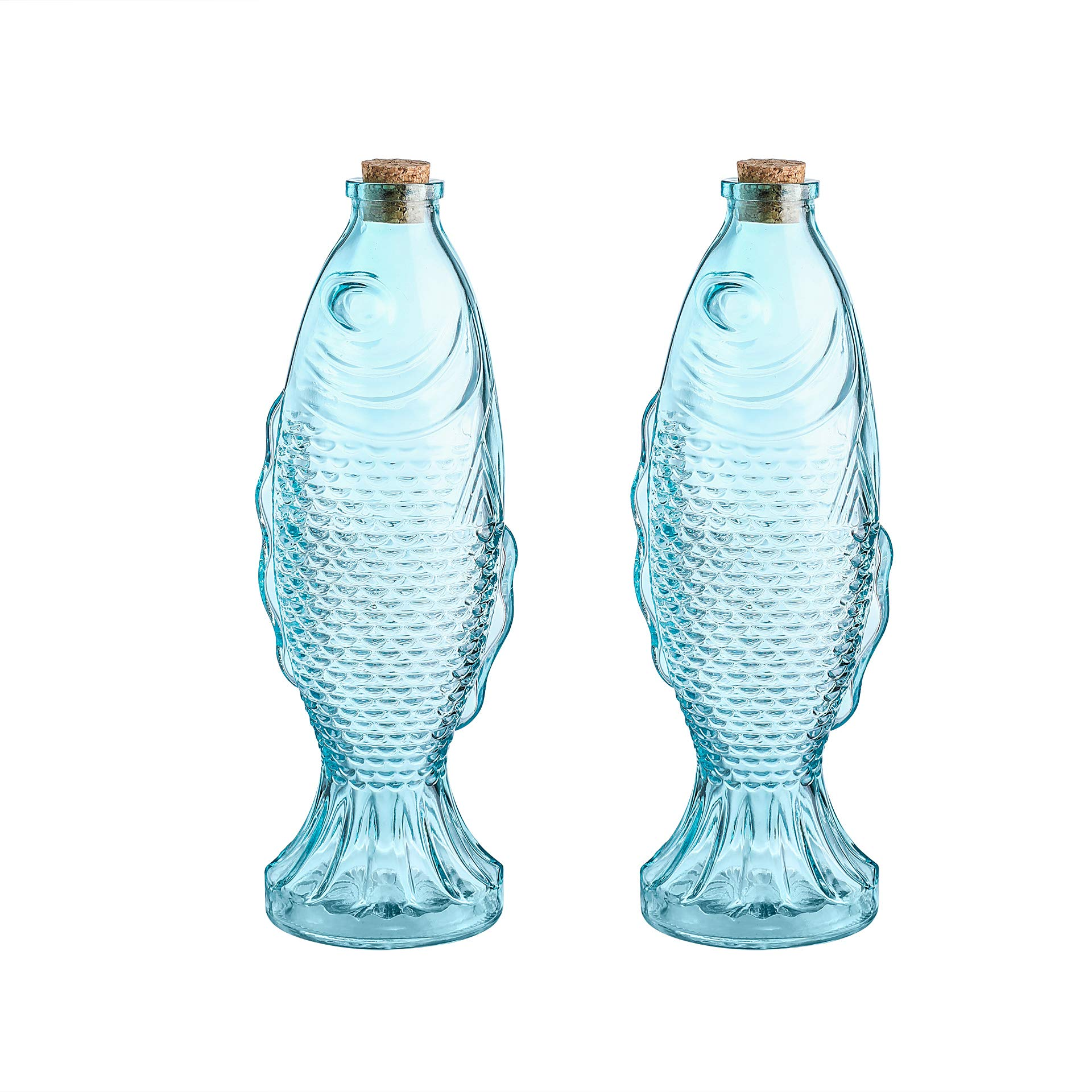 Whole Housewares 10.5'' H 18 Ounce Blue Glass Decorative Bottles, Fish Shaped Bottles with Cork Set of 2 by Whole Housewares