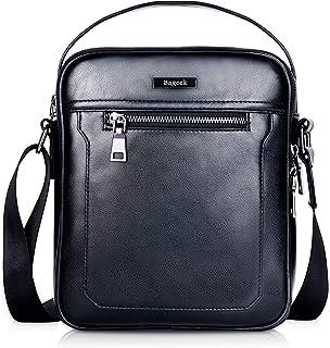 Bageek Mens Crossbody Bag Mens Shoulder Bag Small Messenger Bag PU Leather Bag for Men Satchel Bag Black