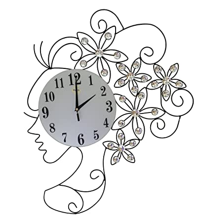 Contemporary Metal Wall Clock Fancy with Crystals Lady Face Wall Clock