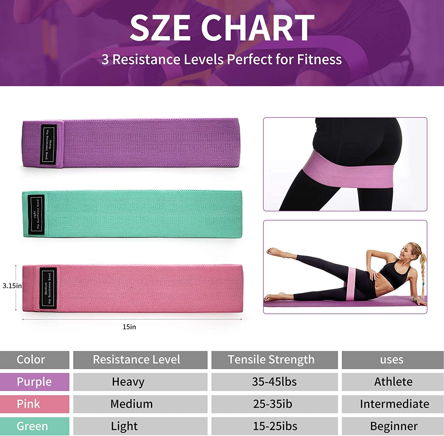 3 Fabric Workout Loop Bands and 2 Core Exercise Sliders DZOMK Resistance Bands and Core Sliders,Resistance Bands for Legs and Butt Exercise Bands 5 in 1