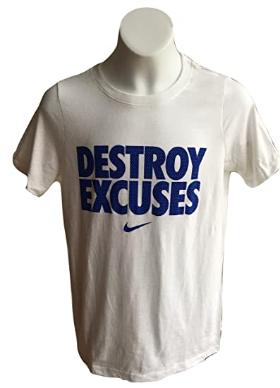 c18642ce Nike Boy's Destroy Excuses Short Sleeve Graphic Print T-Shirt 916729 (S,  White