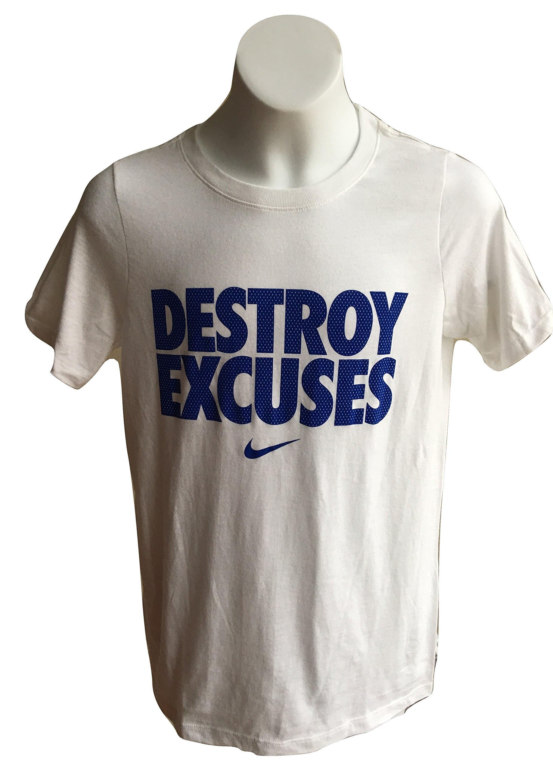 Nike Boy's Destroy Excuses Short Sleeve Graphic Print T-Shirt 916729 (S, White/Blue)