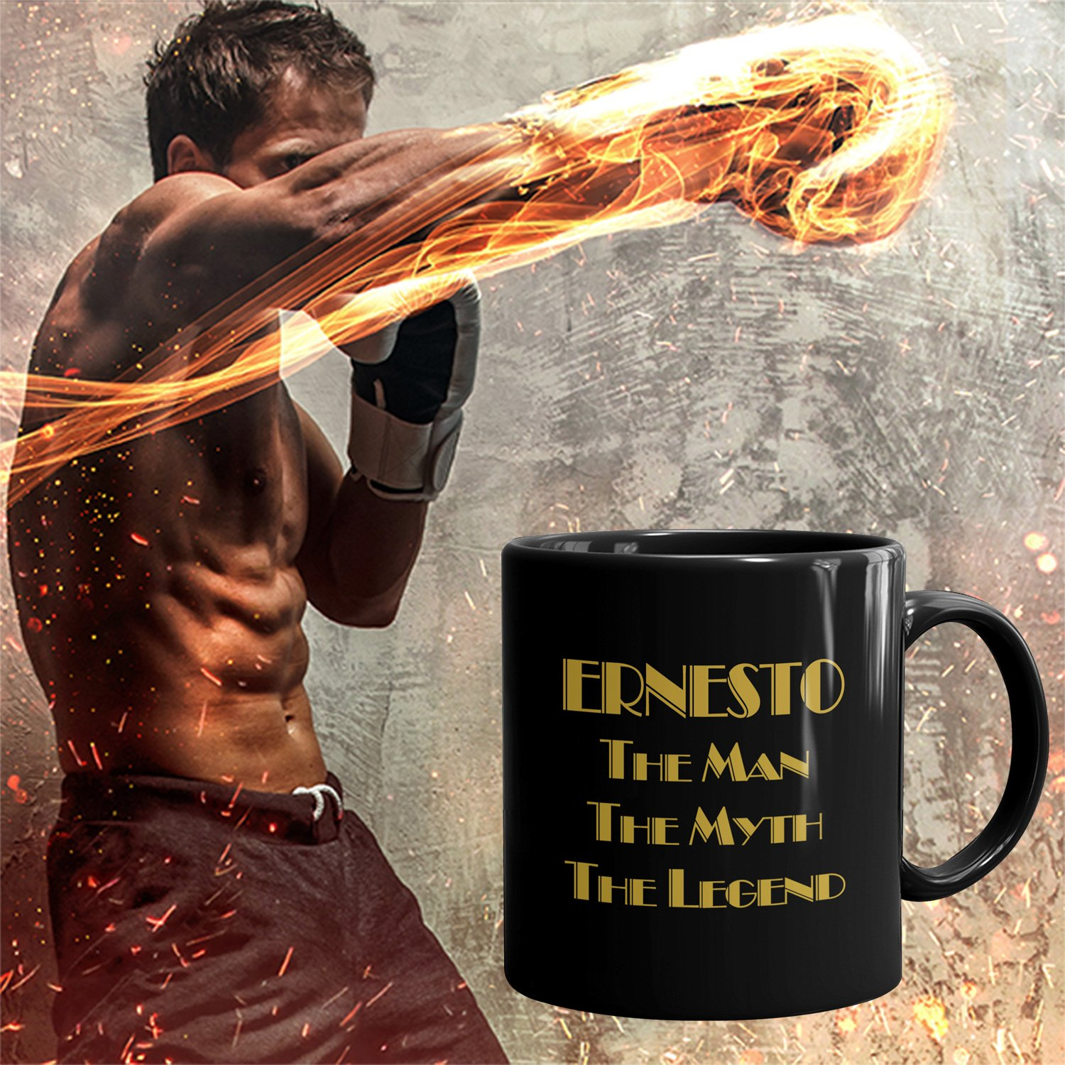 Ernesto Coffee Mug Tazas Negras Personalizadas con Nombres - The Man the Myth the Legend - Best Gifts Regalos for Men - 11 oz Black mug - Gold Black 2: ...