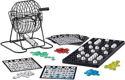 Relaxdays Bingo con Bombo de Metal, Juego Mesa, 1 Set, Cartones, Bolas, Fichas, Tableros, Plástico-Metal-Cartón, Negro: Amazon.es: Juguetes y juegos