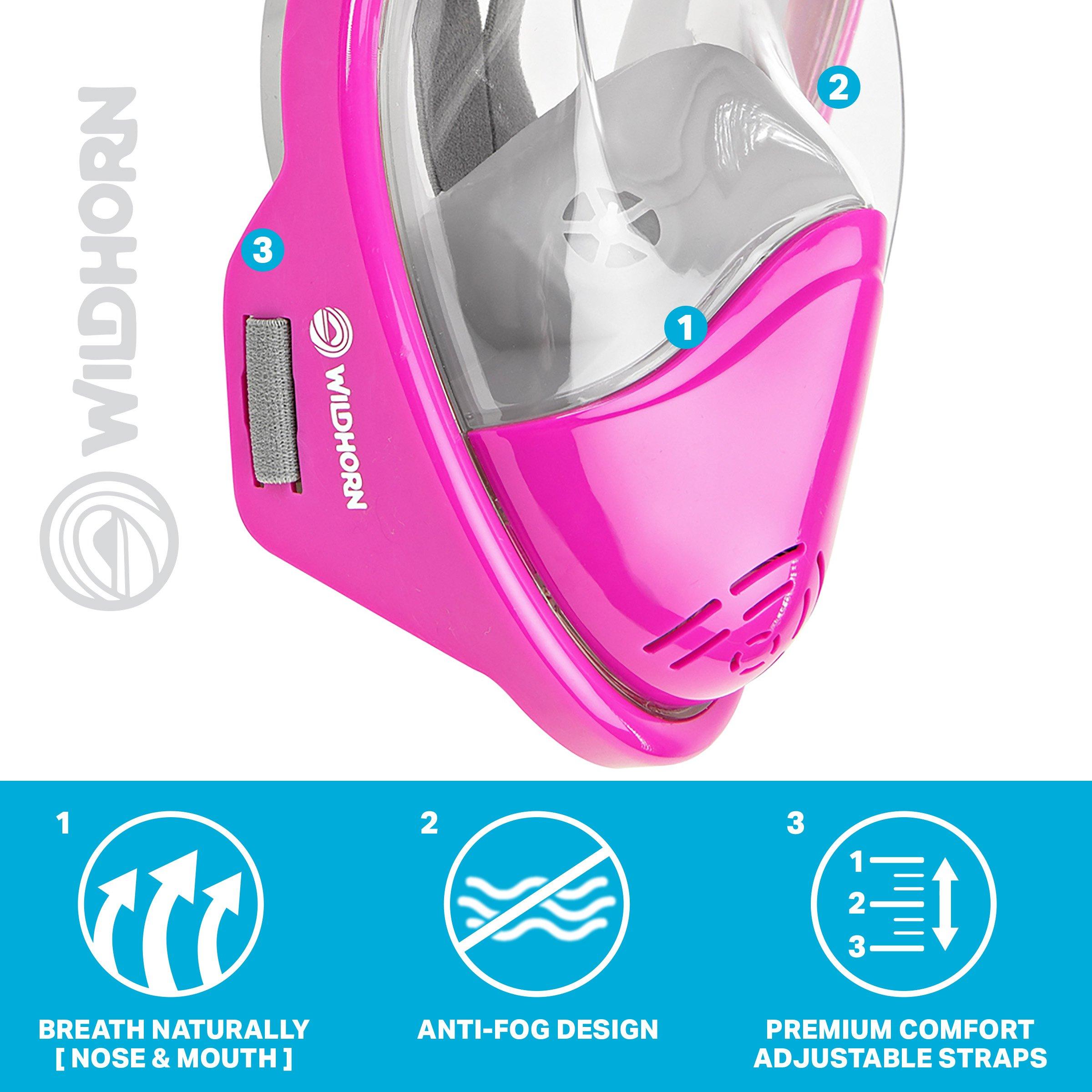 Seaview 180° GoPro Compatible Snorkel Mask- Panoramic Full Face Design. See More With Larger Viewing Area Than Traditional Masks. Prevents Gag Reflex with Tubeless Design (Lotus, S/M) by WildHorn Outfitters (Image #5)