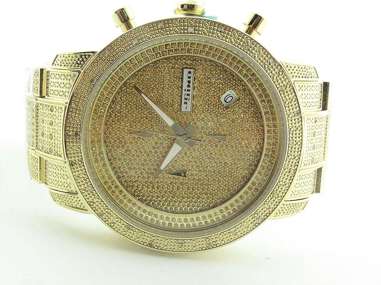 0431535074e Amazon.com  JOJINO 1.05ct Real Diamond Watch Mens Deluxe Gold Tone Case  Diamond Band MJ-1000B  Watches