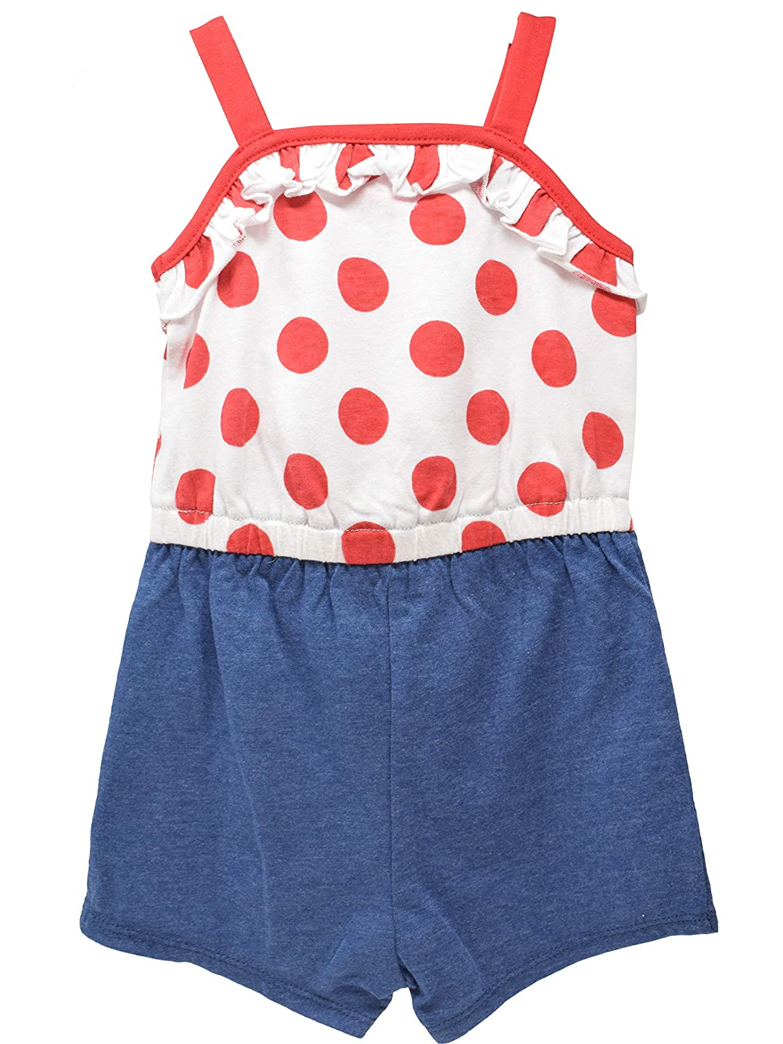 Disney Minnie Mouse Girls Overalls Ruffle Shirt Denim Shorts Romper Outfit