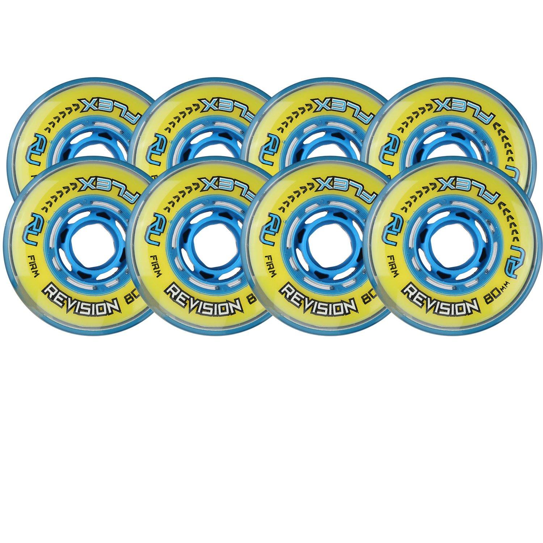 Revision Wheels Inline Roller Hockey Flex Firm Blue 76mm 80mm 80A Hilo Set