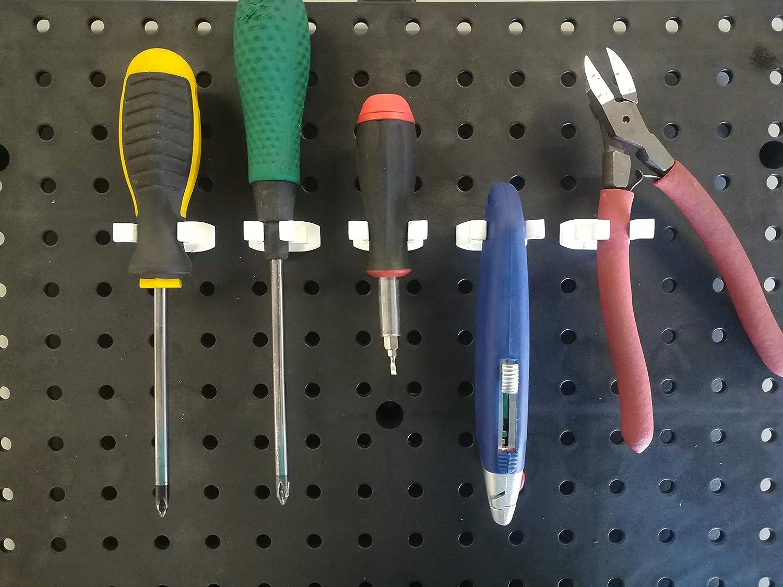 50 White Plastic Garage Tool Organizer Holder Spring Style For 1//4 Pegboard Peg Hooks JSP Manufacturing