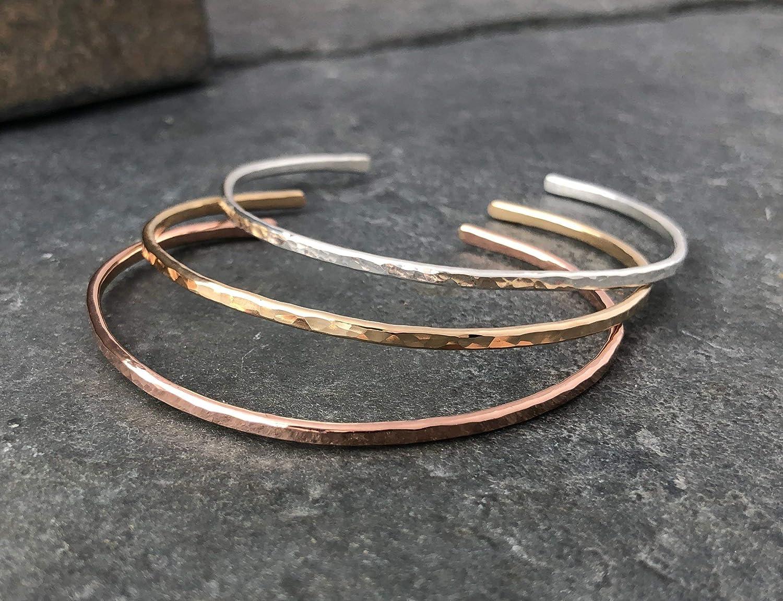 Gold Silver Wrist Cuff Handmade Hammered Copper Thin Cuff Bracelet Hammered