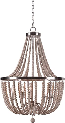 Kenroy Home Casual 5 Light Wood Bead Chandelier ,32 Inch Height, 22 Inch Diameter with Brushed Steel Finish with White Wood Beads