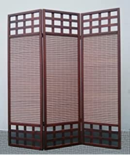 legacy decor 3 panel solid wood screen room divider dark brown walnut color