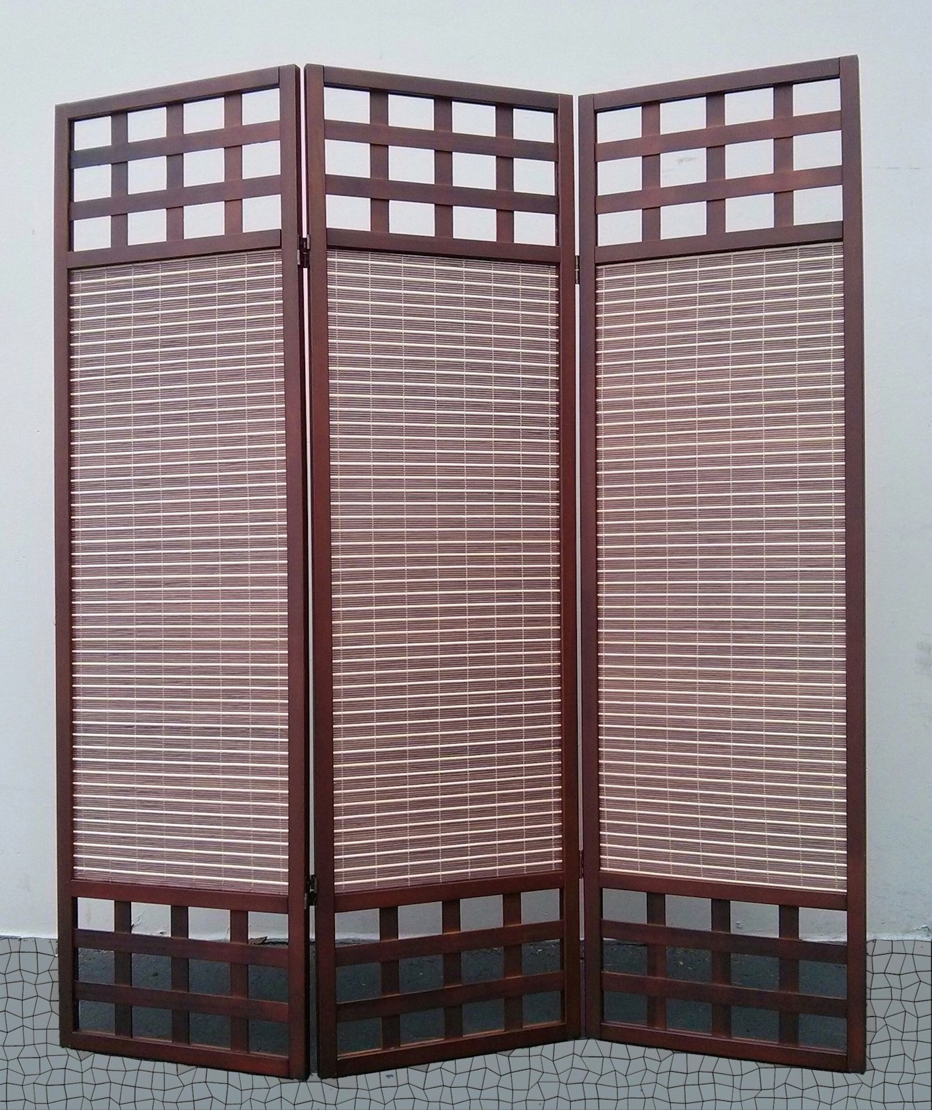 Legacy Decor 3 Panel Solid Wood Screen Room Divider, Dark Brown/Walnut Color
