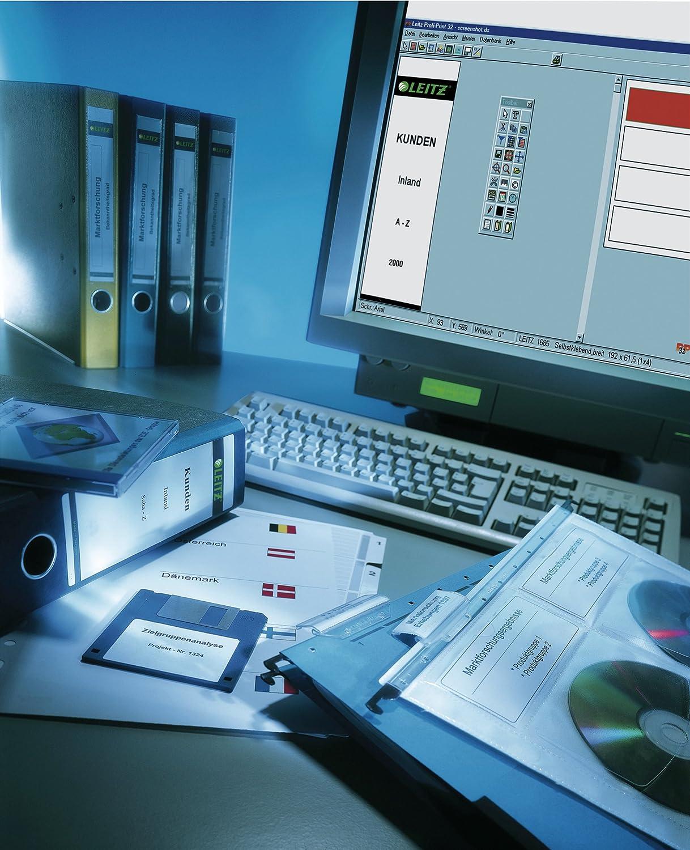 LEITZ/® R/ückenschild Sie erhalten 1 Packung /á 75 St/ück selbstklebend gr/ün 75 St/ück Papier 61 x 285 mm auf A4-Bogen breit//lang