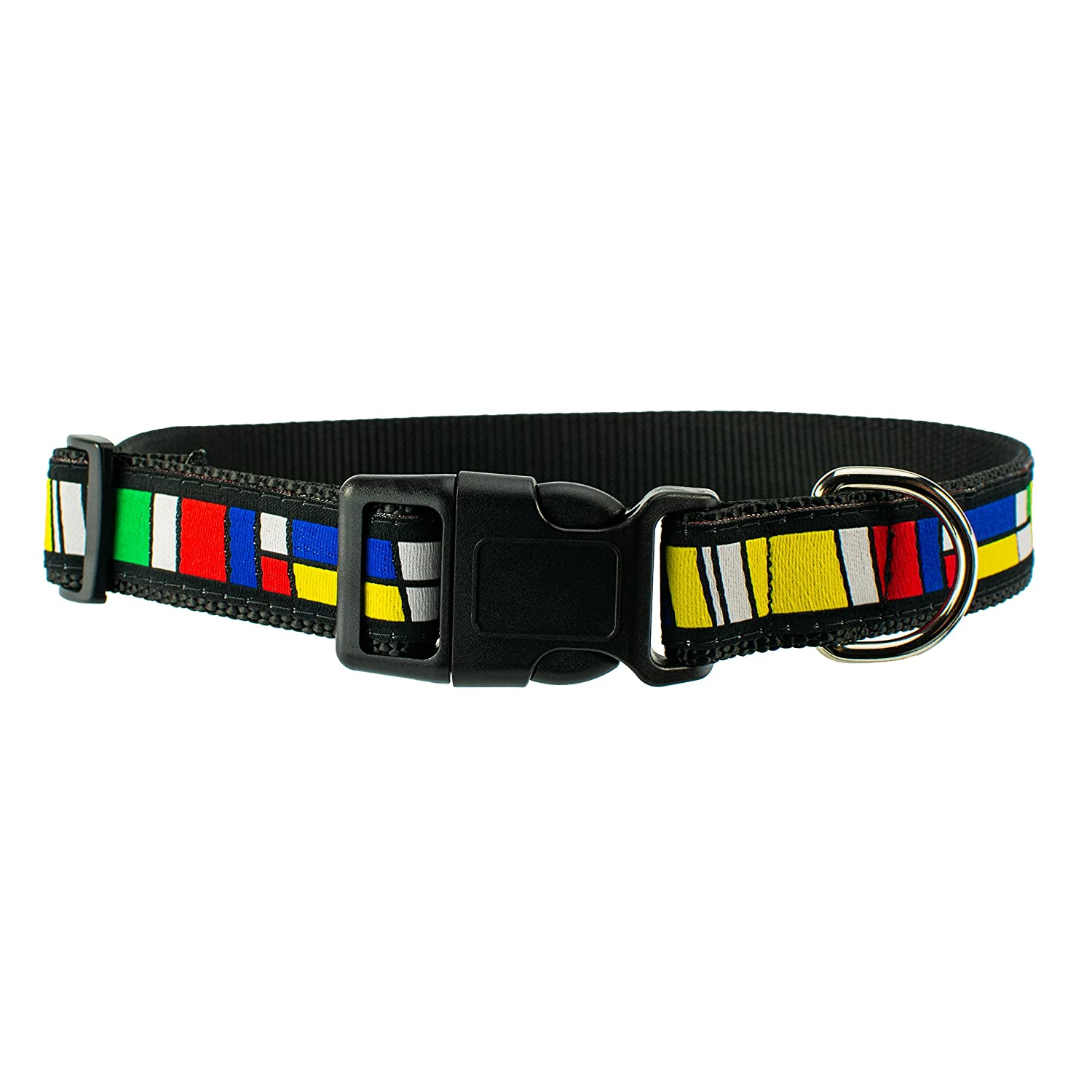 Medium 12\ Dog & Company Geometric Abstract Pattern 1  Wide Heavy Duty Adjustable Pet Collar (Medium)