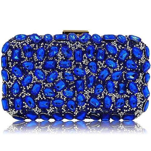 dabacf2b87a Stunning Rhinestone Party Clutches Cocktail Crossbody Evening Bags For  Women Clutch Purse Handbag (Royal Blue
