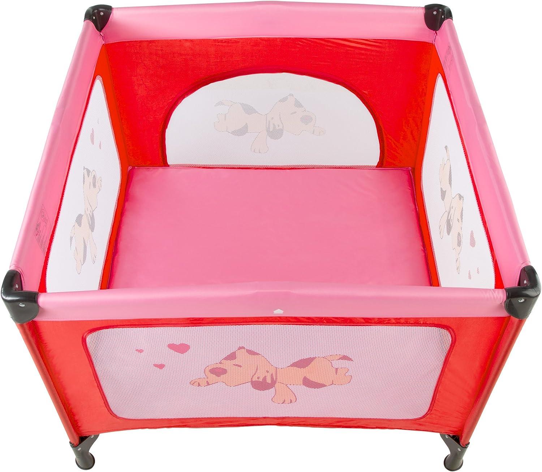 disponible en diferentes colores Coffee | 400466 TecTake Cuna infantil de viaje de altura ajustable con acolchado para beb/é