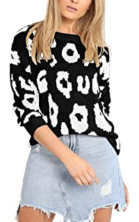 b5f9fa2ade Angashion Women s Causal Long Sleeve Crew Neck Leopard Print Knitted  Pullover Sweater Tops