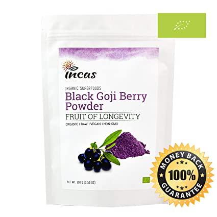 Organic Black Goji Berry Sapphire Wolfberry Powder 100g (3.52oz / 20  Servings)- Natural Healthy Food Coloring EU Certified No Artificial  Additives and ...