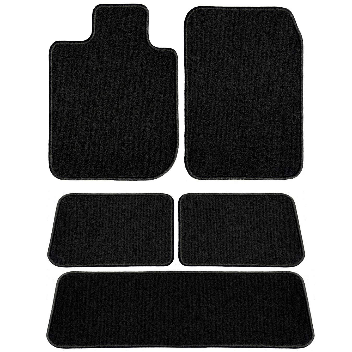 2nd /& 3rd Row Passenger 2011 Dodge Grand Caravan Black Driver 2009 5 Piece Floor 2010 GGBAILEY D60288-LSB-BLK Custom Fit Car Mats for 2008