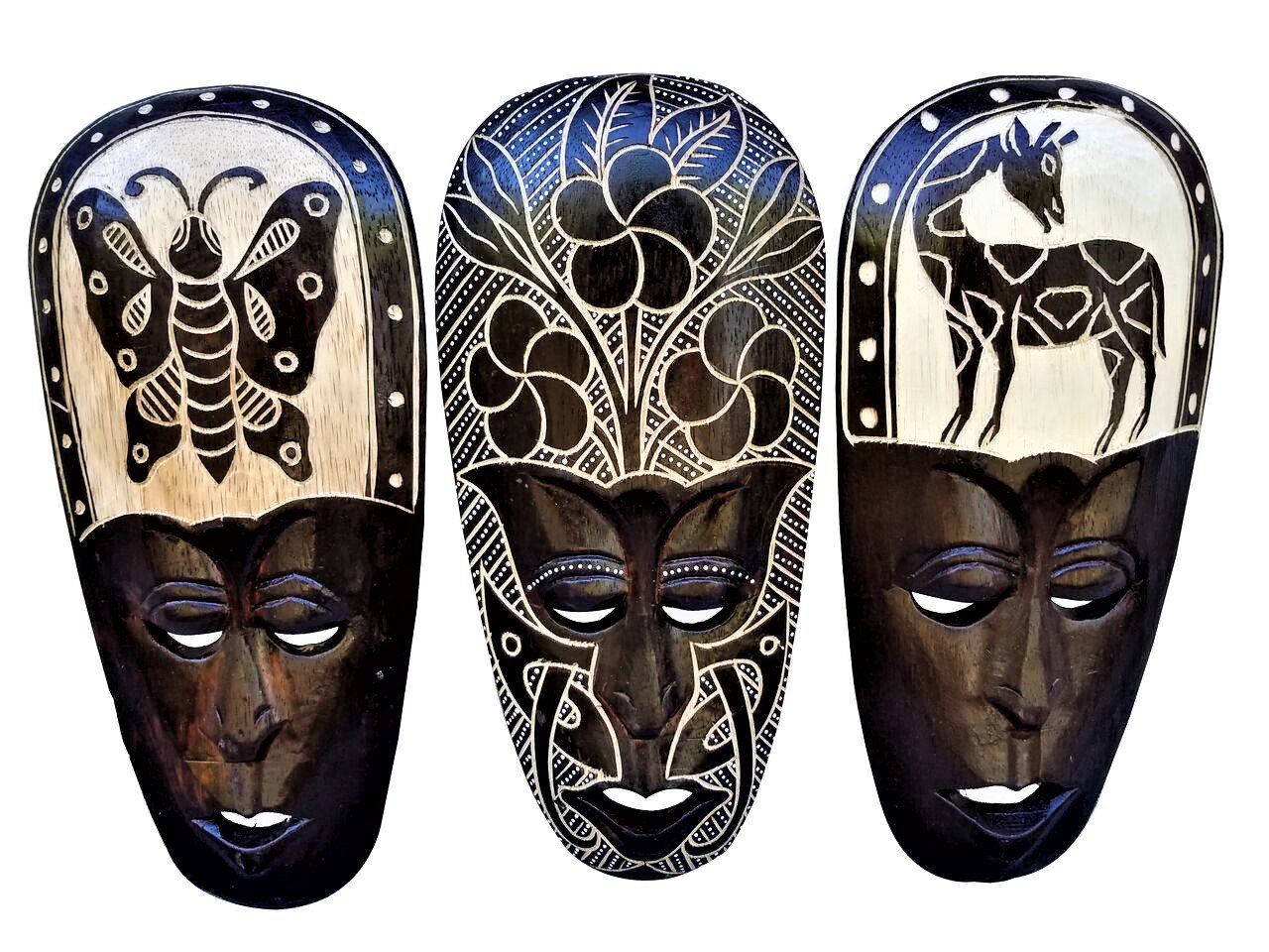 All Seas Imports Gorgeous Set Of (3) Hand Chiseled Wood African Style Wall Decor Flower, Butterfly, and Giraffe Masks by All Seas Imports