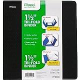 Mead 1-1/2 inch 3 Ring Binder, Tri-Fold, 3 Pockets, Black (38870)