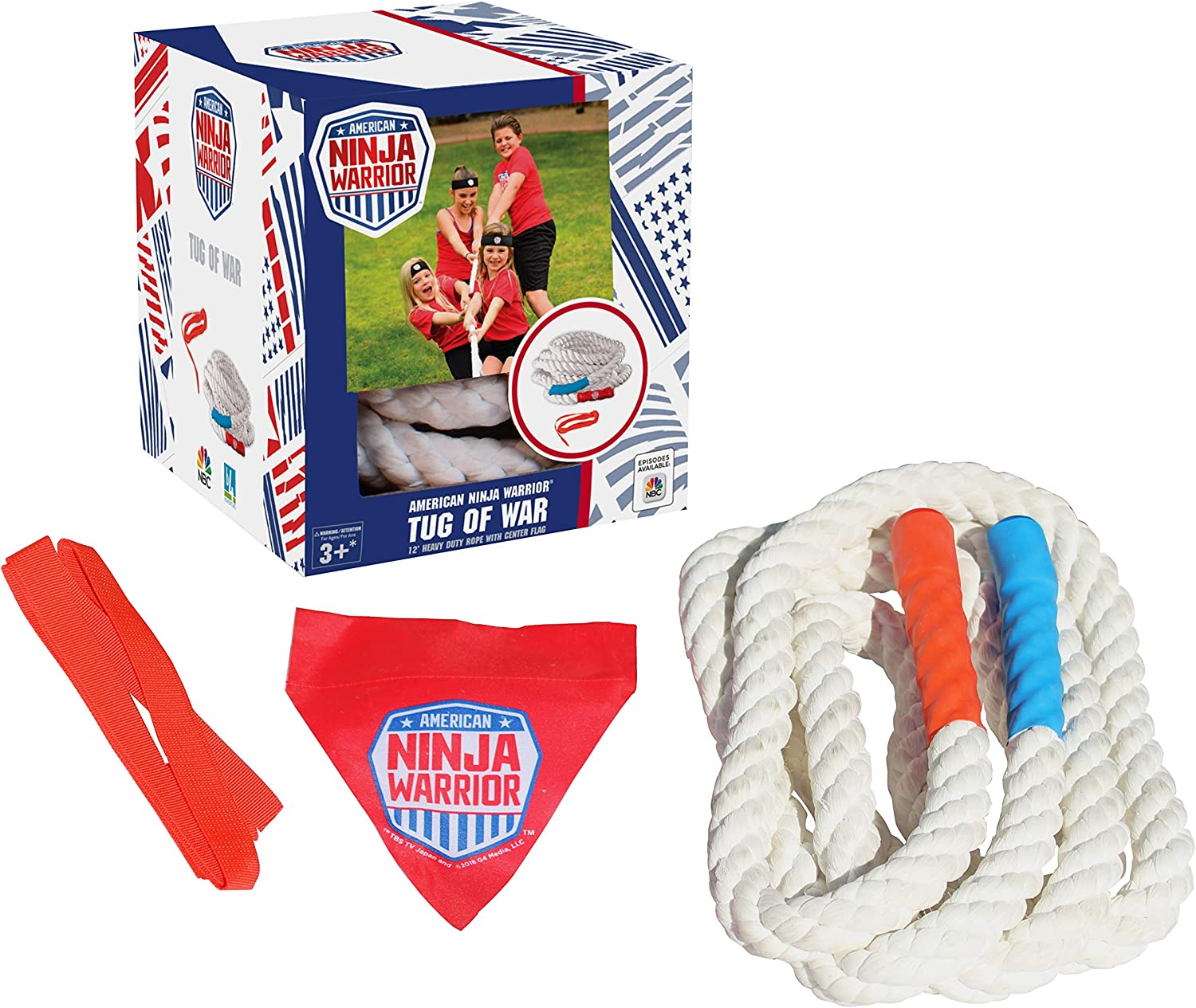 American Ninja Warrior Tug of War - 12ft Rope with Team Colored Handles, Center Flag and 5 Start line