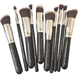 Puna Store 10 Piece Makeup Brush Set, PS-540, Black/Silver