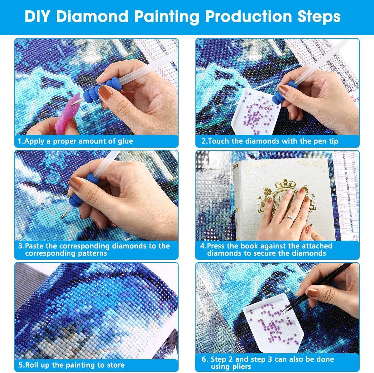 6 Pack 5D DIY Full Drill Diamond Painting Kits Diamond Painting 9.8x13.7inch JLHATLSQ Cartoon Round Crystal Rhinestone Embroidery Cross Stitch Arts Craft for Home Wall Decor Gift