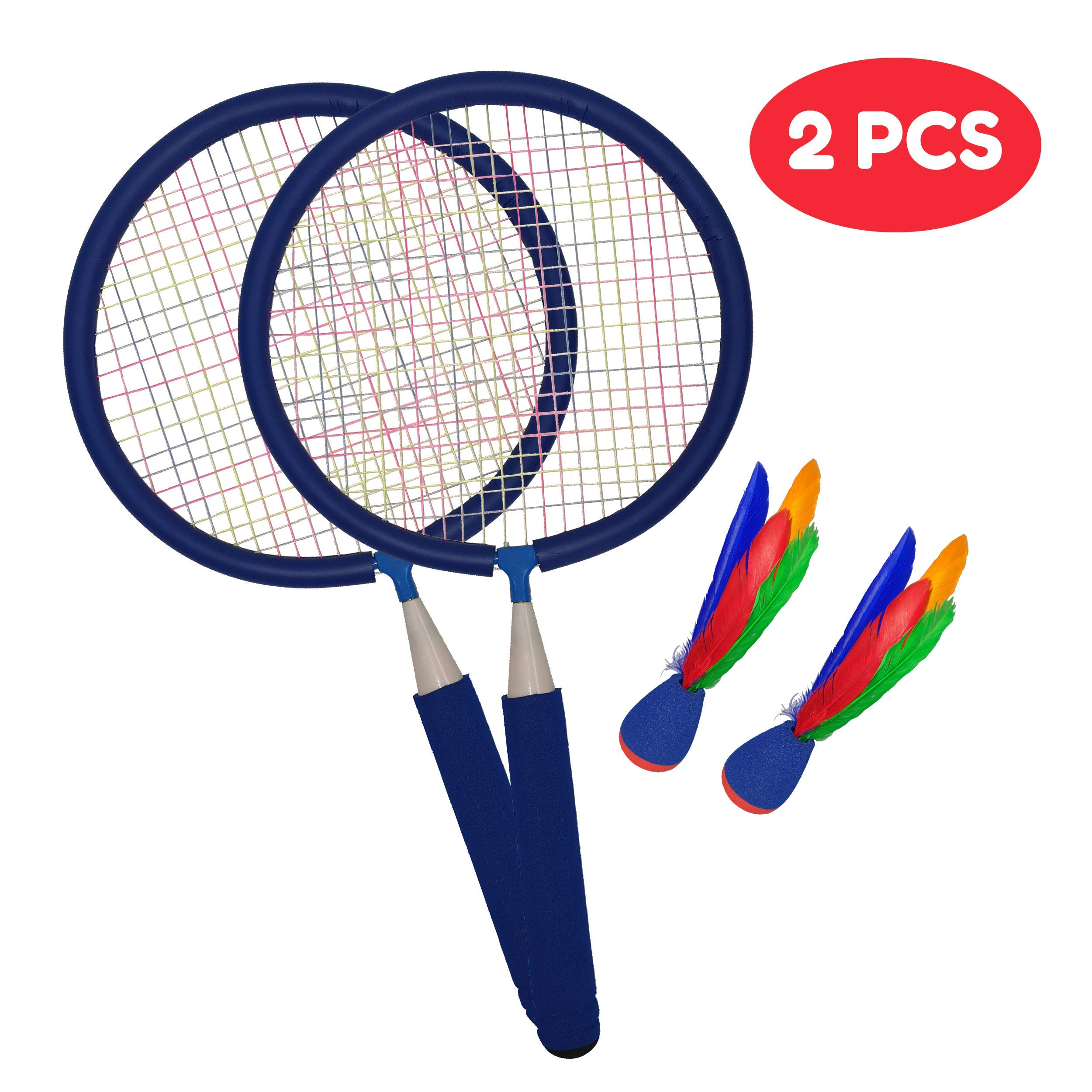 Macro Giant Badminton Set, with 2 Blue Rackets and 2 Birdie, Kids' Play, Backyard, Playground