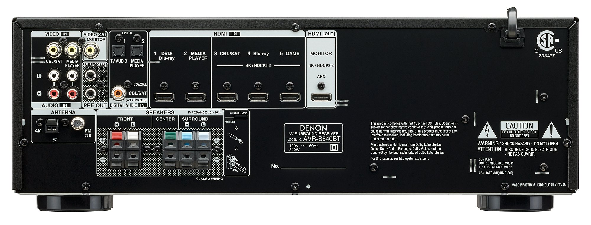 Denon AVR-S540BT Receiver, 5.2 channel, 4K Ultra HD Audio and Video, Home Theater System, built-in Bluetooth and USB port, Compatible with HEOS Link for Wireless Music Streaming by Denon (Image #2)