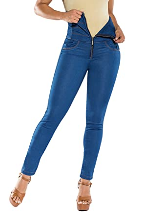 3b1159e059 Curvify Super High Waisted Butt Lift Skinny Jeans Tummy Control - Cintura  Alta (1305 Midblue
