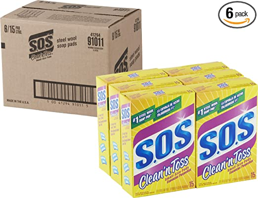 SOS Clean n Toss Steel Wool Soap Pads, 15 Count (Pack of 6)