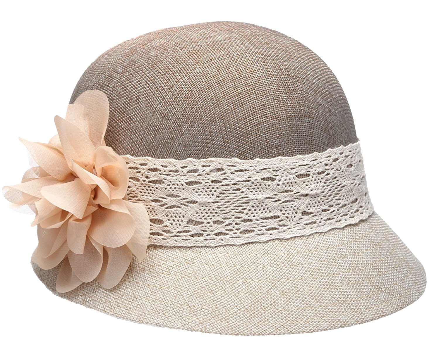 Women's Gatsby Linen Cloche Hat with Lace Band and Flower (CL2265NATURAL-TWO-TONED)