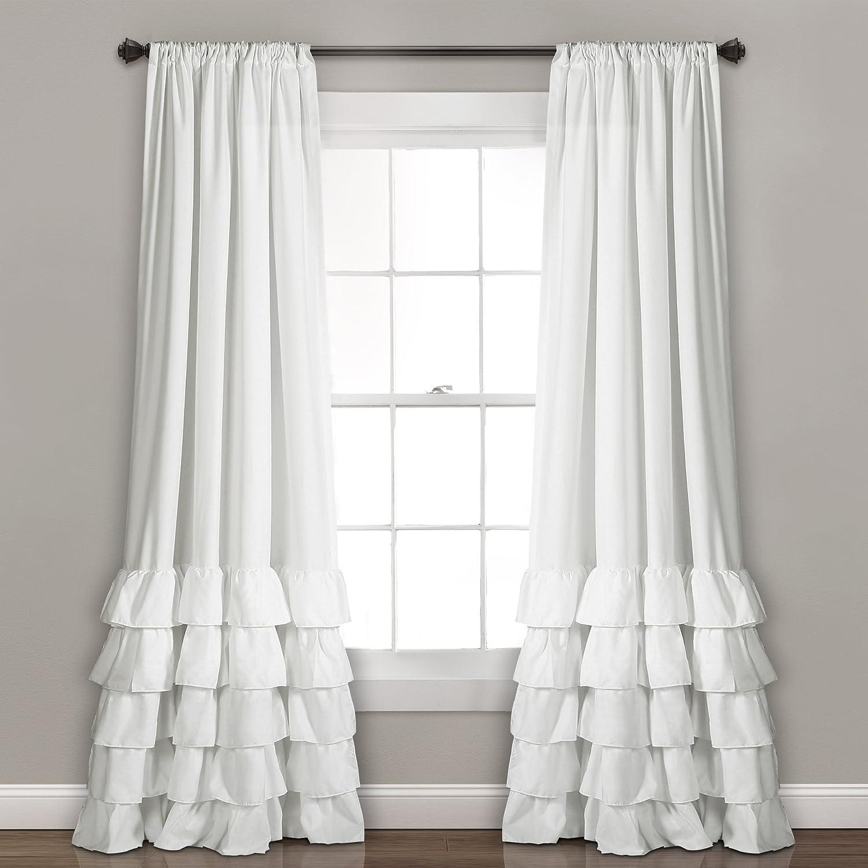 Amazon Com Lush Decor White Allison Ruffle Curtains Window Panel Drapes Set For Living Dining Room Bedroom Pair 84 X 40 84 L Home Kitchen
