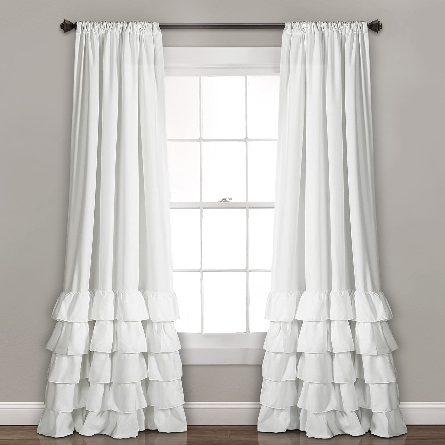 "Lush Decor Allison Ruffle Curtains-Window Panel Drapes Set for Living, Dining Room, Bedroom (Pair), 84"" x 40"", White"