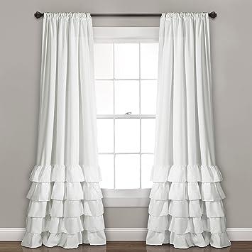Lush Decor Allison Ruffle Curtains Window Panel Drapes Set For Living Dining Room Bedroom Pair 84 X 40 White
