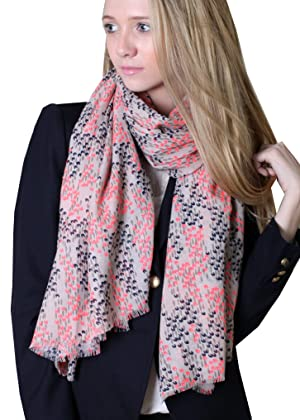 Women's Scarlett Abstract Floral Scarf (Black / Red)