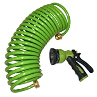 Deals on Centurion 814 Polyurethane 25-ft Coil Garden Hose w/ Nozzle