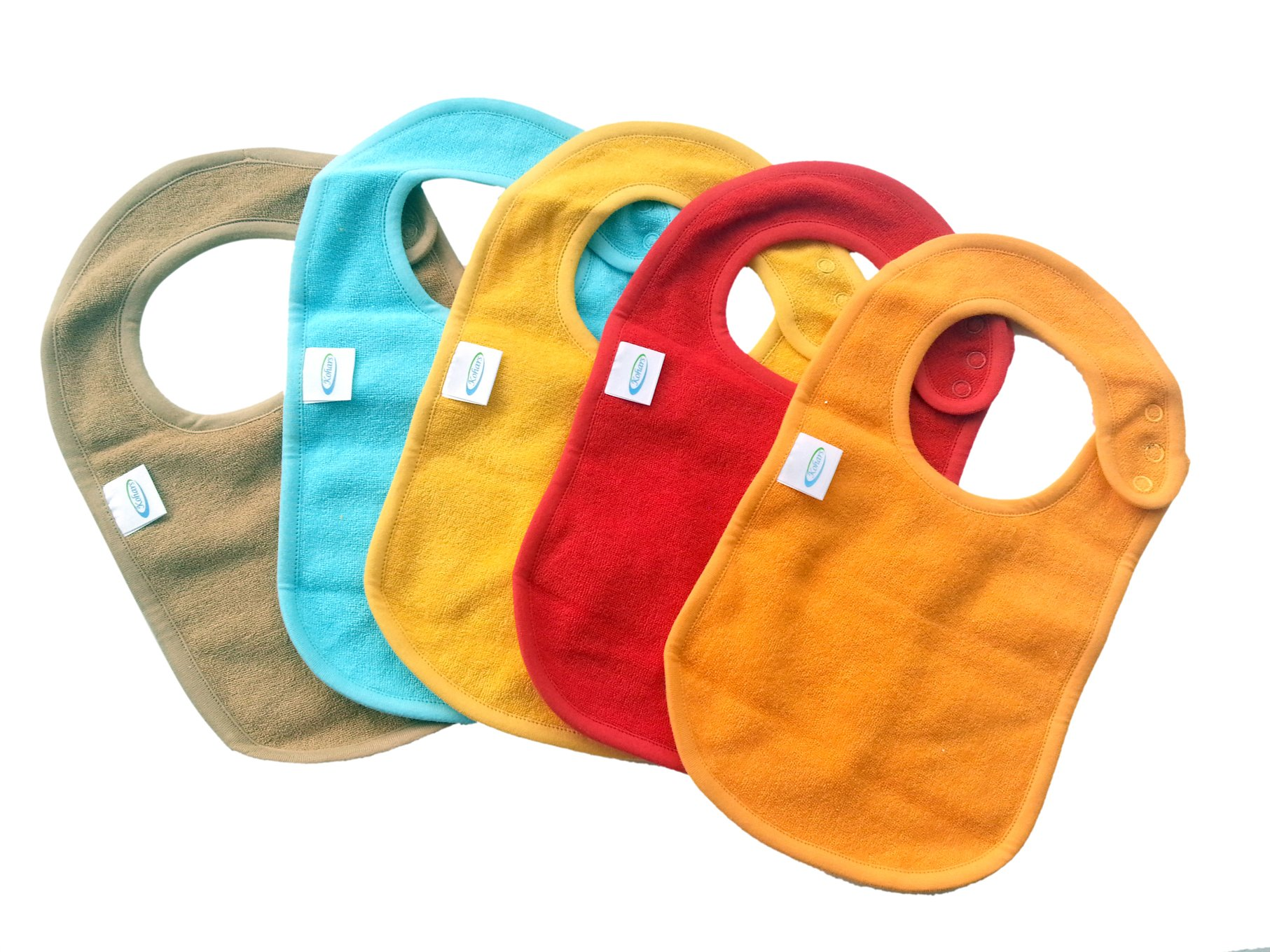 Baby Bibs with Snaps Solid Colors (5 Pack) by Kohars. 100% Cotton Absorbent Reversible Unisex Teething Dribble Bibs. Perfect for Newborn Infant Toddlers & Baby Shower and Gift Basket