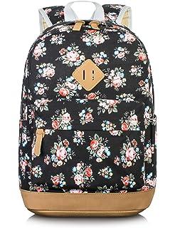 Leaper Cute Floral Canvas School Backpack Laptop Bag Travel Shoulder  Rucksack (Rose, Black) f4fbdc3552
