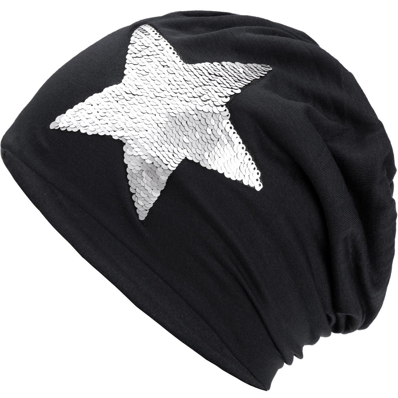 Compagno Slouch Beanie mit Pailletten aus atmungsaktivem, feinem und leichten Jersey Unisex Damen Mütze Haube Boho Bini Mädchen Einheitsgröße Farbe:Schwarz