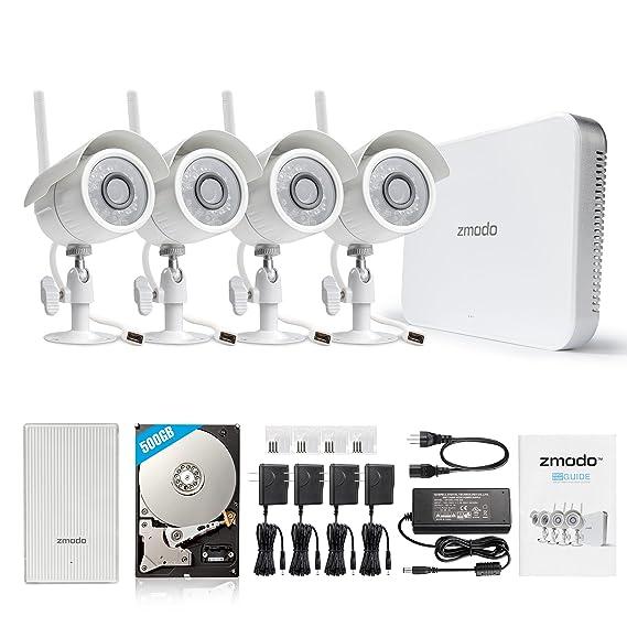 Amazon com: Zmodo - 4-Channel, 4-Camera Indoor/Outdoor