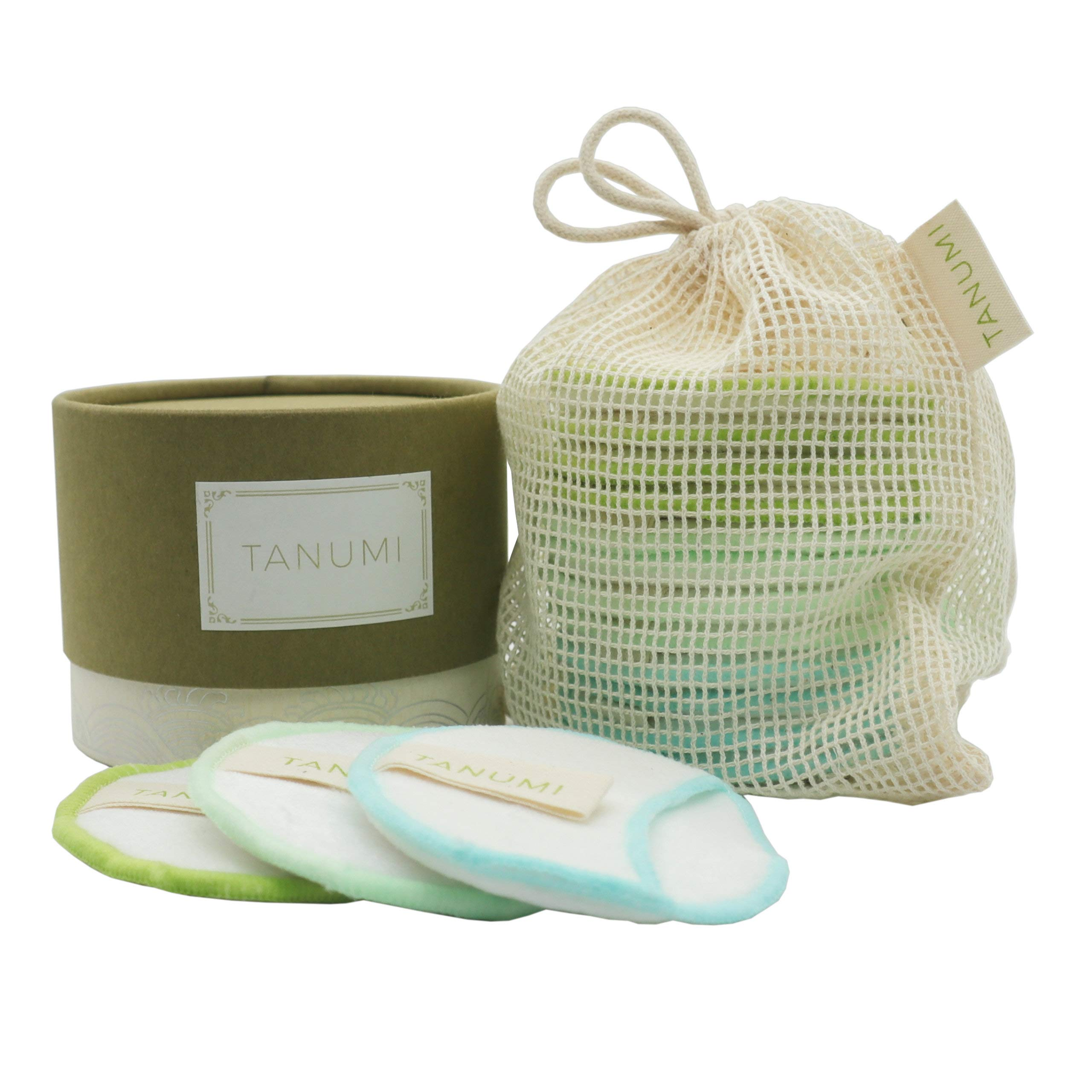 TANUMI Reusable Makeup Remover Cotton Pads | 12 Reusable Cotton Rounds/w Laundry Bag | Perfect Gift For Her| Skin Care Cleansing Round Remover Wipes by TANUMI