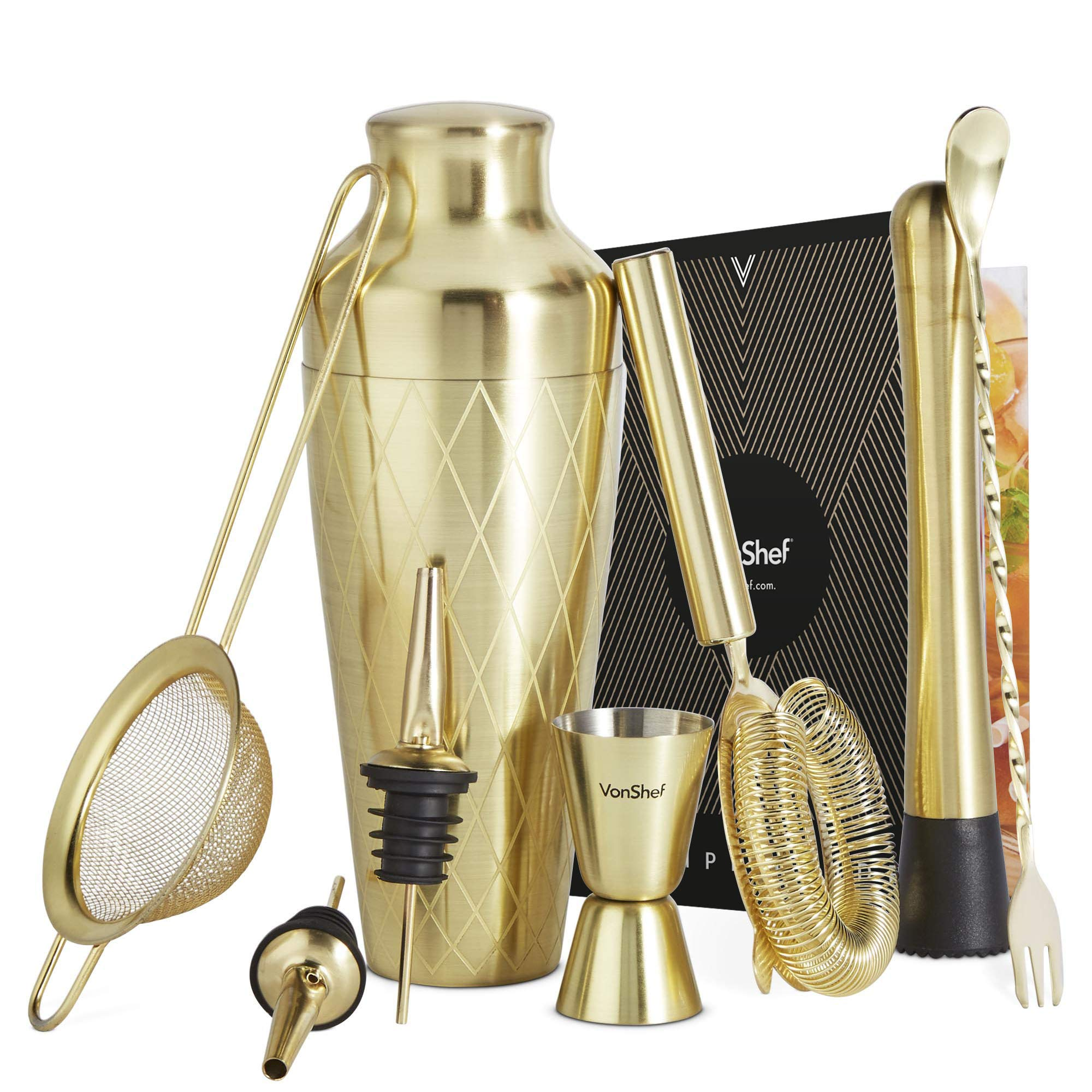 VonShef 9pc Gold Parisian Cocktail Shaker Bartender Set with Gift Box, Recipe Guide, Muddler, Jigger, Cocktail Strainers, Bar Spoon and Bottle Pourers