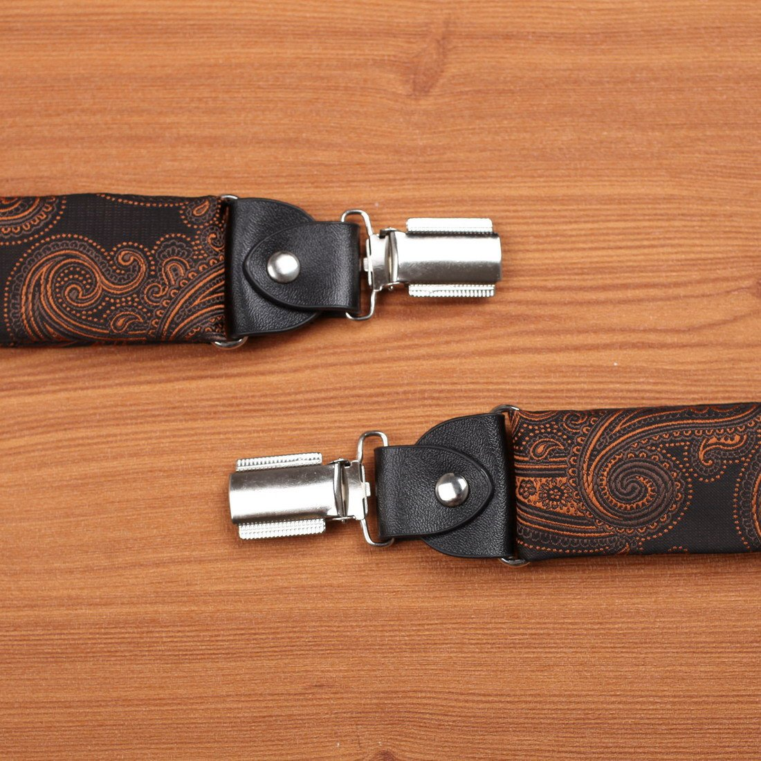 EFBB0045 Brown Patterned Extendable Microfiber Y-Back Suspenders Stainless Steel Clip Elegant Gift Giving By Epoint by Epoint (Image #5)