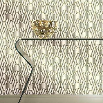 Amazon Com Roommates Gold White Striped Hexagon Peel And Stick Wallpaper 20 5 X 16 5 Feet Rmk10704wp Home Improvement