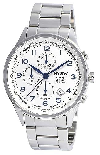 NYSW - Reloj Inteligente híbrido – Impresionante Reloj de Segunda Mano – Gran Cristal de Zafiro